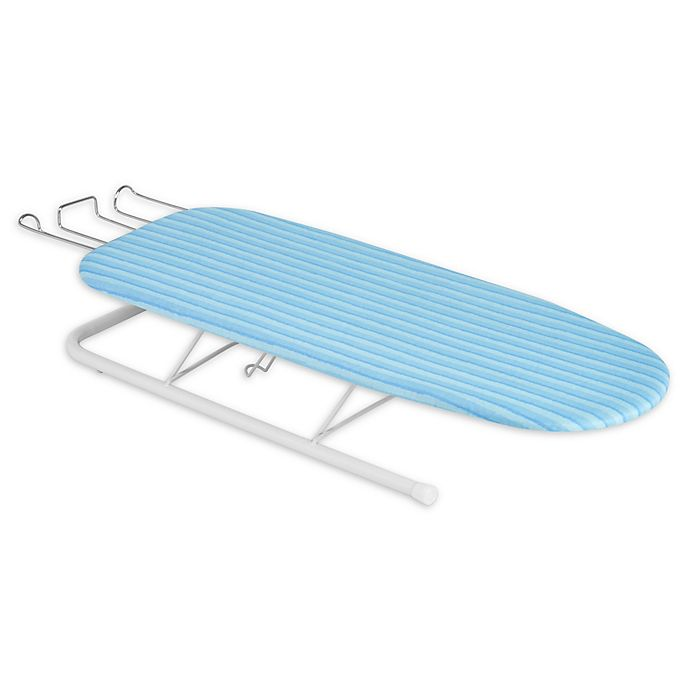 Alternate image 1 for Honey-Can-Do® Deluxe Tabletop Ironing Board with Retractable Iron Rest in White/Aqua