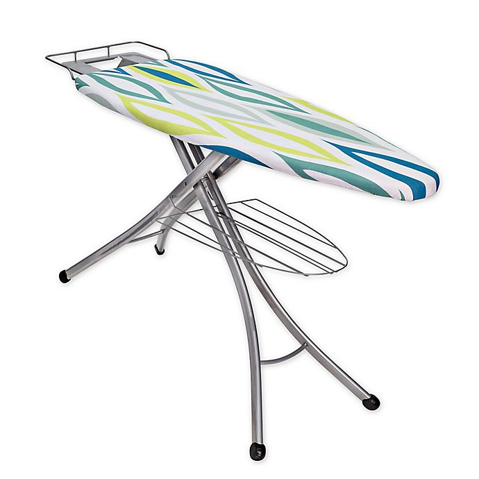 Alternate image 1 for Honey-Can-Do® Ironing Board with Rest and Shelf in Blue/Green/White