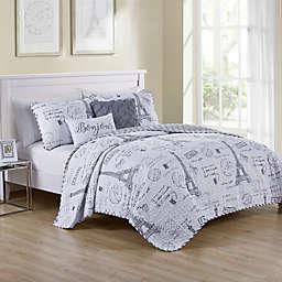VCNY Home Paris Night Reversible Quilt Set