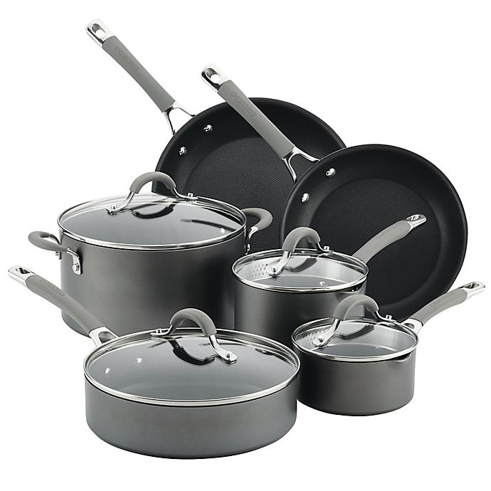 Alternate image 1 for Circulon® Elementum™ Nonstick Hard-Anodized 10-Piece Cookware Set in Oyster Grey