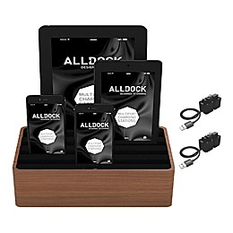 Alldock Combo Medium Charging Station in Walnut/Black with 2 MFRI Cables