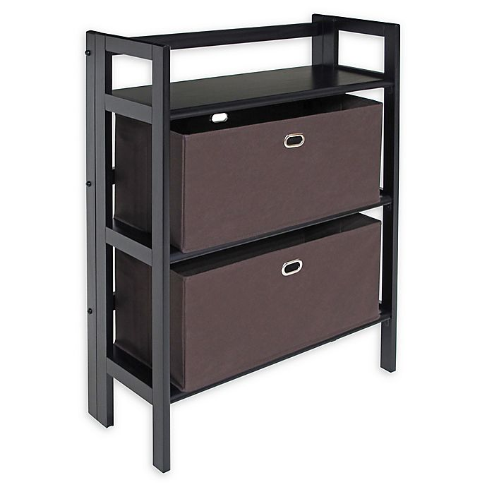 Alternate image 1 for Winsome Torino 3-Piece 2-Tier Folding Shelf with Baskets Set in Black/Brown