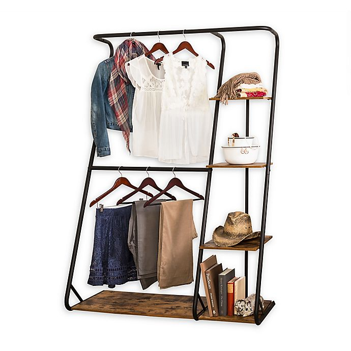 Alternate image 1 for Honey-Can-Do® Rustic Z-Frame Wardrobe with Shelves