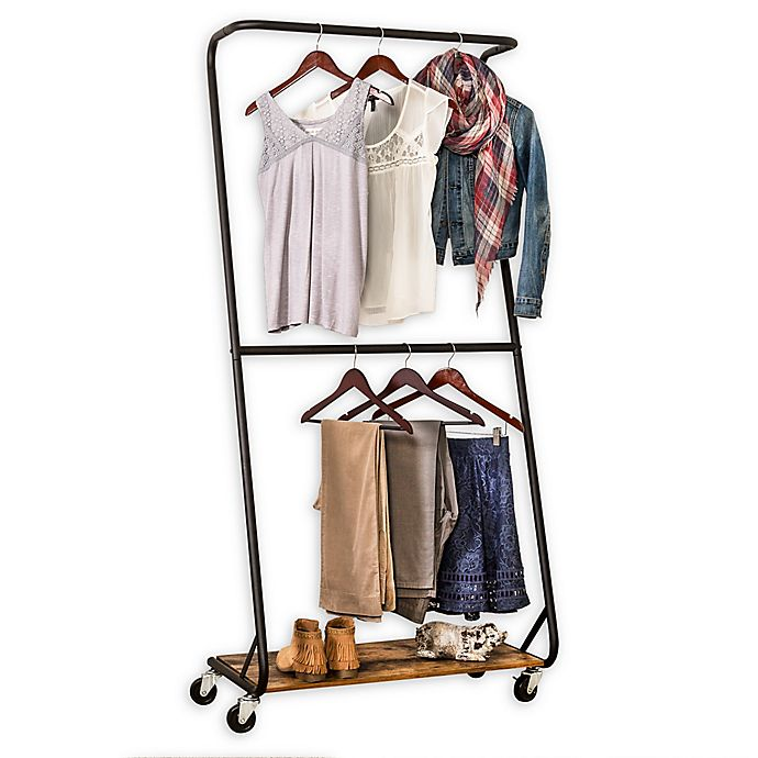Alternate image 1 for Honey-Can-Do® Rustic Z-Frame Double Bar Garment Rack