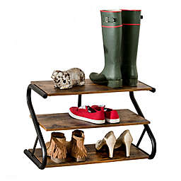 Honey-Can-Do® Rustic Z-Frame 3-Level Shoe Rack