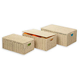 Honey-Can-Do® 3-Piece Paper Rope Baskets with Lids Set in Butter