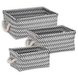 Honey-Can-Do® 3-Piece Zig Zag Woven Basket Set in Dark Grey