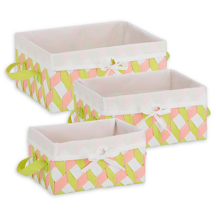 Alternate image 1 for Honey-Can-Do® 3-Piece Woven Lined Tote Set in Pink/Green/White