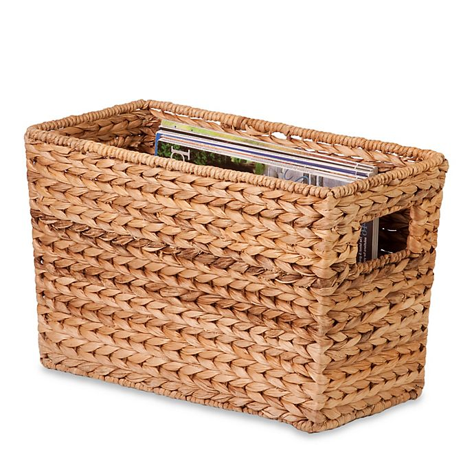 Alternate image 1 for Honey-Can-Do® Large Woven Water Hyacinth Magazine Basket in Natural/Brown