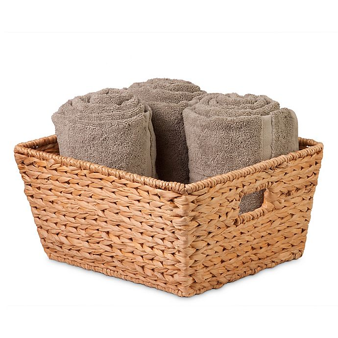 Alternate image 1 for Honey-Can-Do® Large Woven Hyacinth Square Basket in Natural/Brown