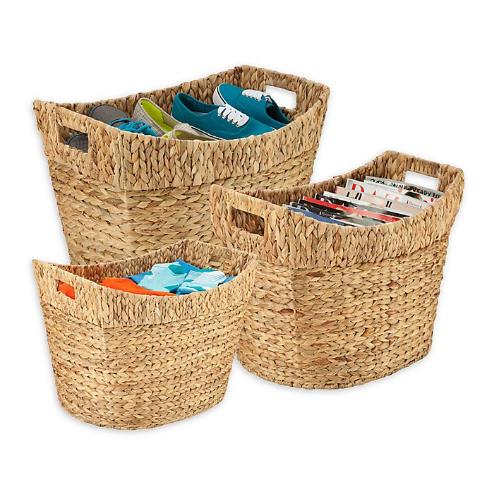 Alternate image 1 for Honey-Can-Do® 3-Piece Woven Hyacinth Tall Basket Set in Natural/Brown