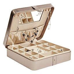 Mele & Co. Deena Jewelry Case in Pewter Faux Leather