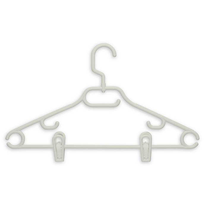 Alternate image 1 for Honey-Can-Do® Plastic Swivel Hangers with Clips and Dress Notch in White (Set of 18)