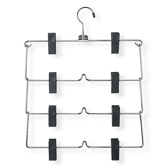 Alternate image 1 for Honey-Can-Do® 4-Tier Skirt Hangers with Clips in Chrome/Black (Set of 2)