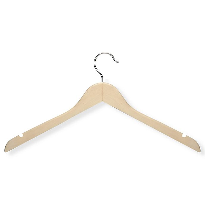 Alternate image 1 for Honey-Can-Do® Wood Shirt Hangers in Maple (Set of 20)
