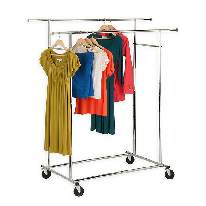 Alternate image 1 for Honey-Can-Do® 74.5-Inch Double Collapsible Commercial Rolling Garment Rack in Chrome