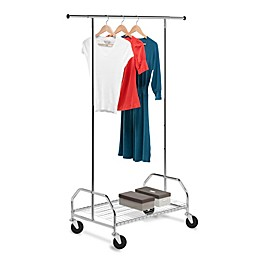Honey-Can-Do® 59-Inch Bottom Shelf Adjustable Rolling Garment Rack in Chrome