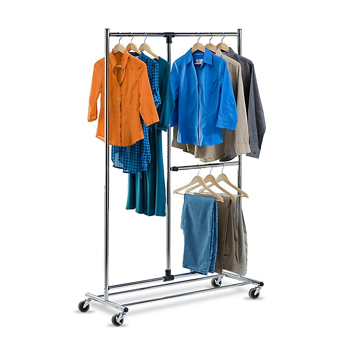 Alternate image 1 for Honey-Can-Do® 80-Inch Dual Bar Adjustable Rolling Garment Rack in Chrome