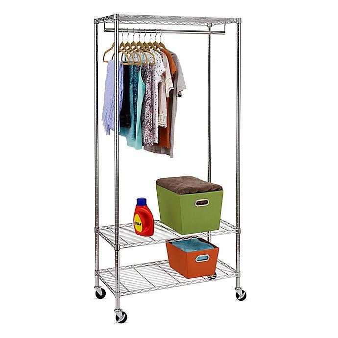 Alternate image 1 for Honey-Can-Do® 3-Shelf 36-Inch Deluxe Rolling Garment Rack in Chrome