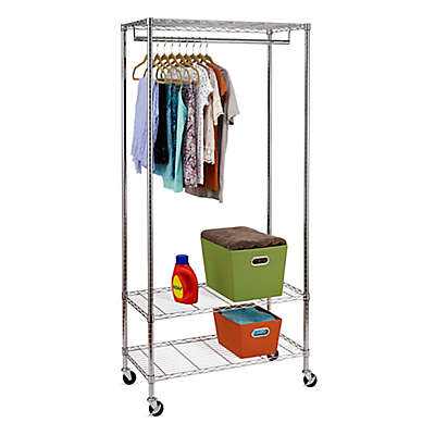 Honey-Can-Do® 3-Shelf 36-Inch Deluxe Rolling Garment Rack in Chrome<br />
