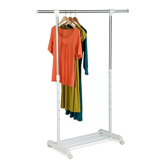 Alternate image 1 for Honey-Can-Do® 53-Inch Adjustable Rolling Garment Rack in Chrome/White<br />