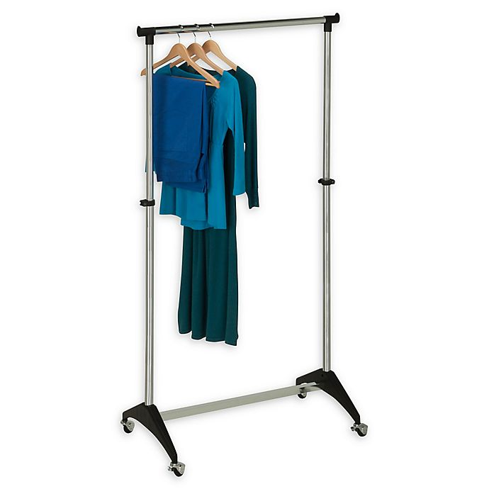 Alternate image 1 for Honey-Can-Do® 33-Inch Adjustable Rolling Garment Rack in Chrome