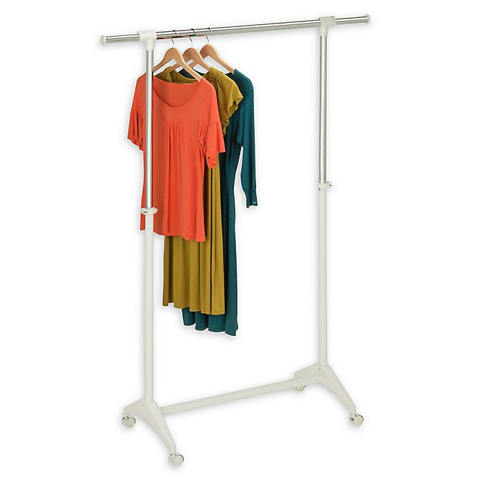 Alternate image 1 for Honey-Can-Do® 54-Inch Adjustable Rolling Garment Rack  in White/Chrome