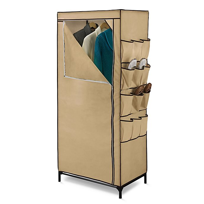 Alternate image 1 for Honey-Can-Do® 27-Inch Cloth Storage Wardrobe with Shoe Organizer in Khaki