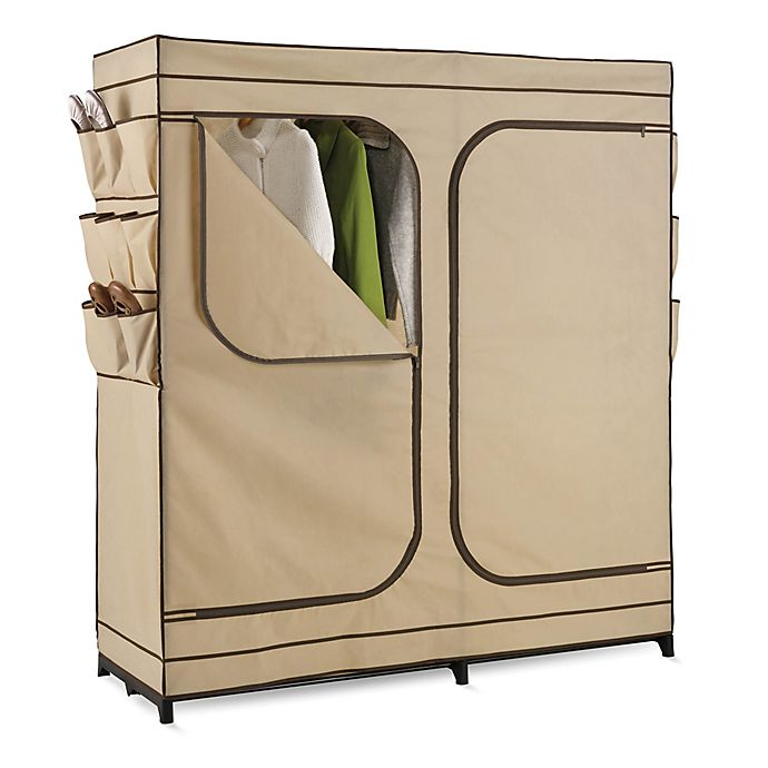 Alternate image 1 for Honey-Can-Do® 60-Inch Double Door Cloth Storage Wardrobe with Shoe Organizer in Khaki