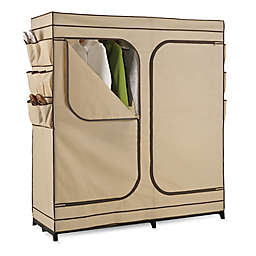 Honey-Can-Do® 60-Inch Double Door Cloth Storage Wardrobe with Shoe Organizer in Khaki