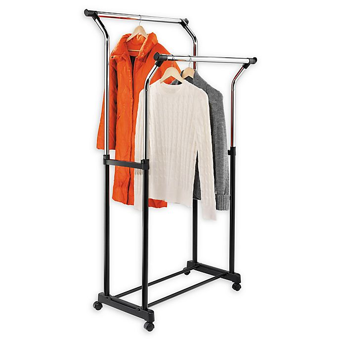 Alternate image 1 for Honey-Can-Do® 32.8-Inch Adjustable Flared Double Rolling Garment Rack in Chrome/Black