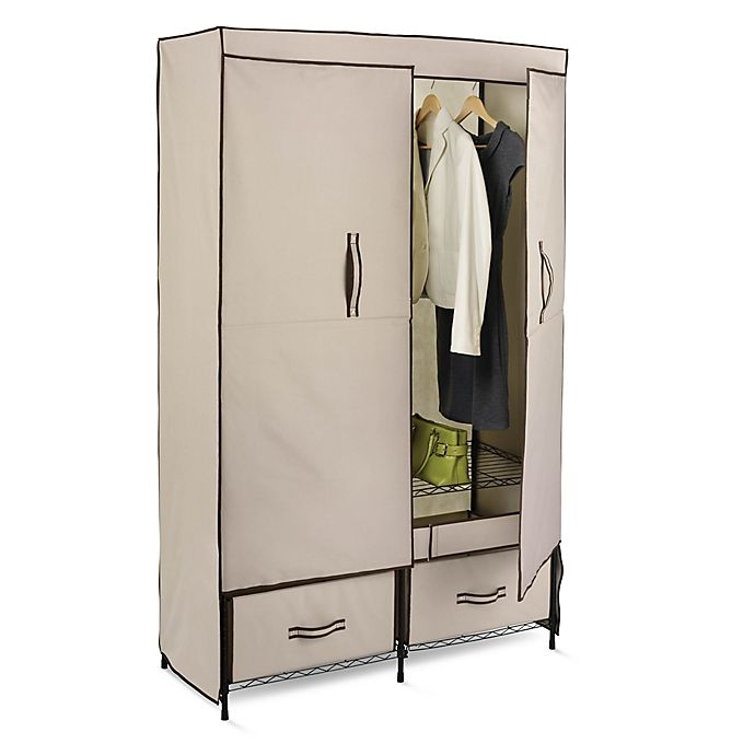 Alternate image 1 for Honey-Can-Do® 43-Inch Double Door Cloth Storage Wardrobe with Drawers in Khaki