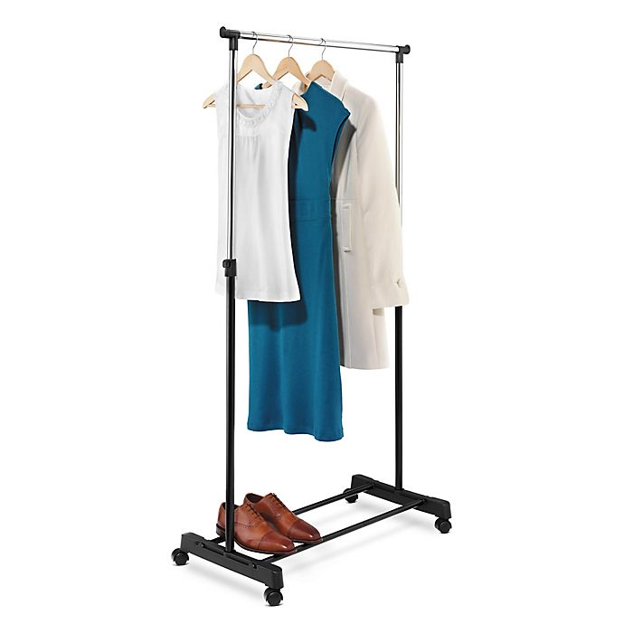 Alternate image 1 for Honey-Can-Do® 35.4-Inch Adjustable-Height Rolling Garment Rack in Chrome/Black