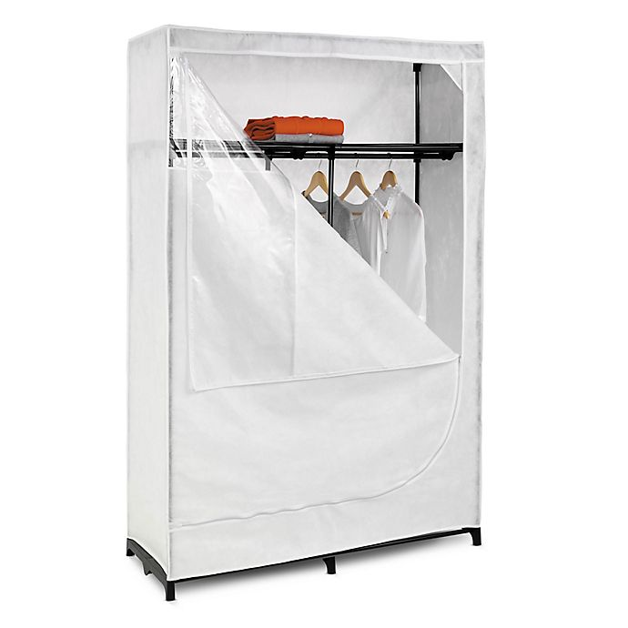 Alternate image 1 for Honey-Can-Do® 46-Inch Cloth Storage Wardrobe with Shelf in White