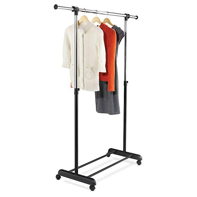 Alternate image 1 for Honey-Can-Do® 50-Inch Expandable Rolling Garment Rack in Black/Chrome
