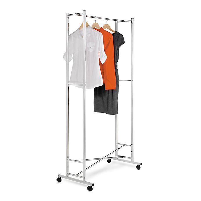 Alternate image 1 for Honey-Can-Do® 34-Inch Square Tube Portable Folding Garment Rack in Chrome