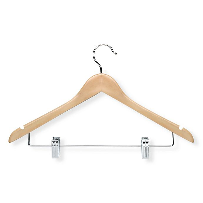 Alternate image 1 for Honey-Can-Do® 12-Pack Wooden Basic Suit Hangers with Clips