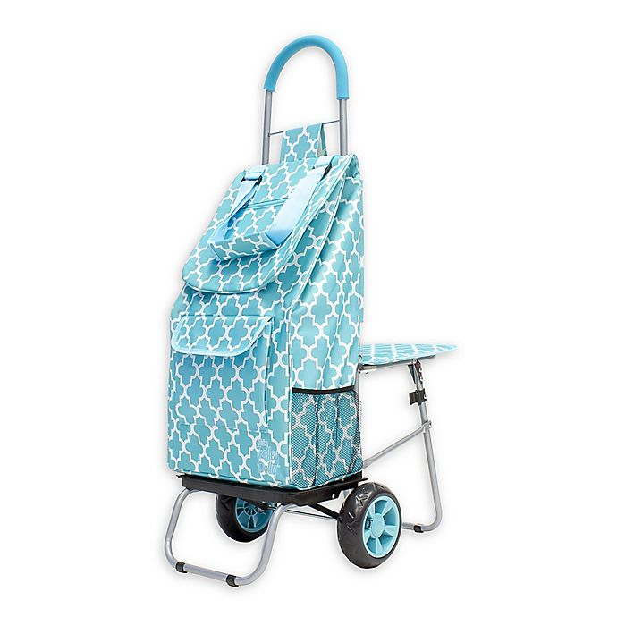 Alternate image 1 for Trolley Dolly Laundry Cart with Seat in Sky Blue Moroccan Tile