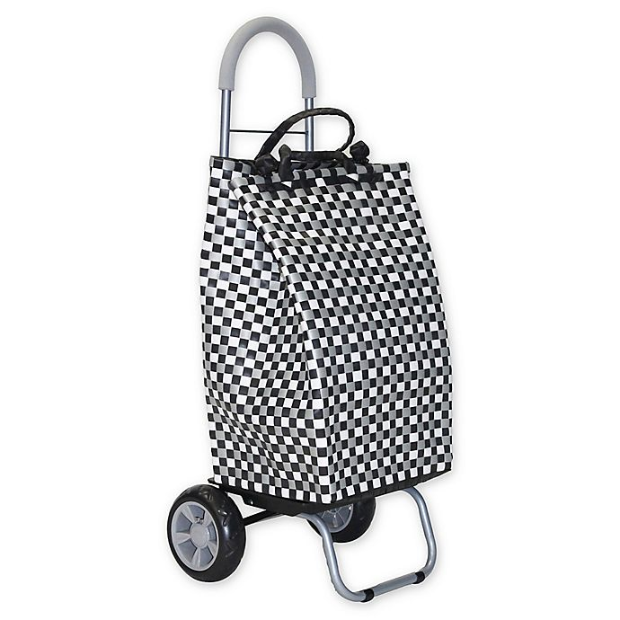 Alternate image 1 for Trolley Dolly Basket Weave Laundry Cart in Black