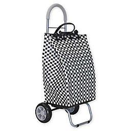 Trolley Dolly Basket Weave Laundry Cart in Black