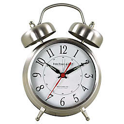 FirsTime Twin Bell Tabletop Clock in Silver