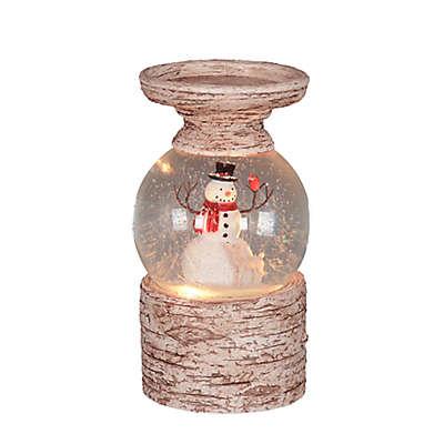 Snowman LED Pillar Snow Globe with Birch-Style Base