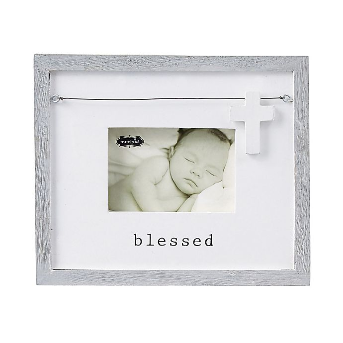 Alternate image 1 for Mud Pie® Blessed 3.5-Inch x 5-Inch Picture Frame in Cream