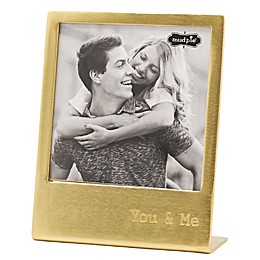 Mud Pie® You & Me 4.5-Inch x 4.5-Inch Metal Easel Frame in Gold