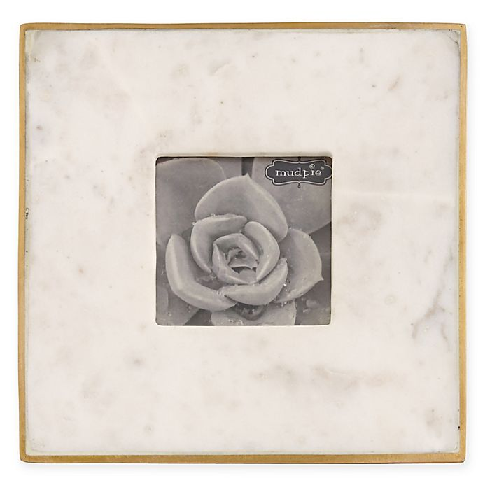 Alternate image 1 for Mud Pie® 4-Inch x 4-Inch Marble Frame in White