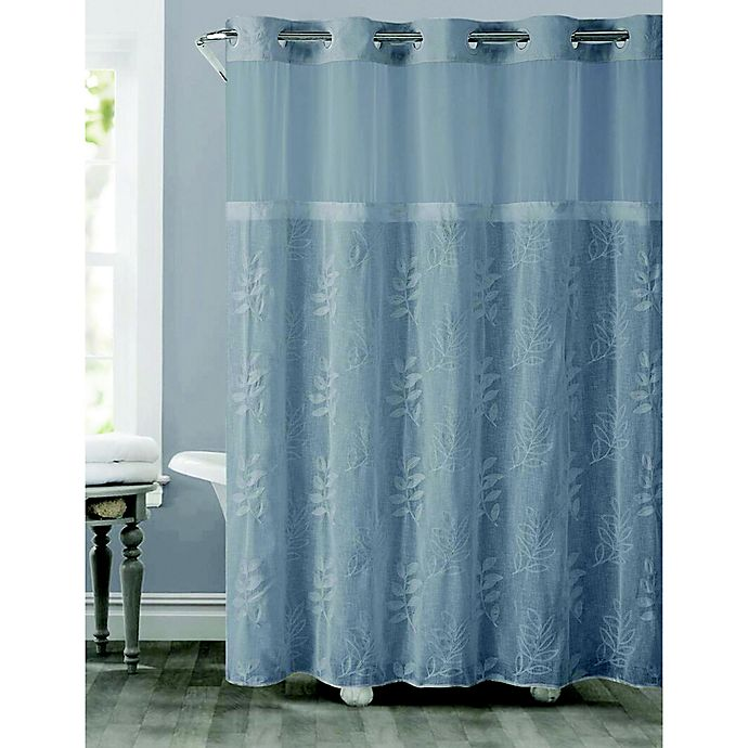 Alternate image 1 for Hookless® Palm Leaves Shower Curtain