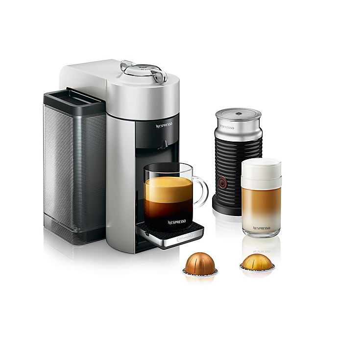 Alternate image 1 for Nespresso® by De'Longhi Vertuo Evoluo Coffee Maker with Aeroccino in Silver