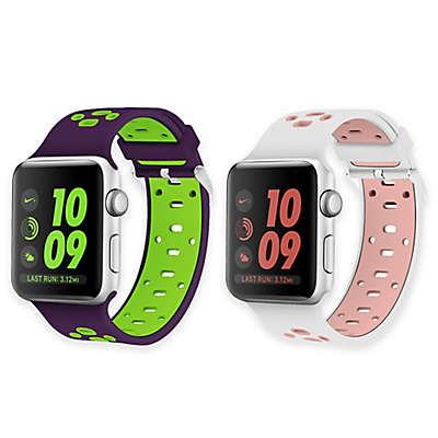 Element Works Apple Watch® Bands in White and Pink/Purple and Green (Set of 2)