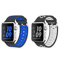Element Works Apple Watch® Bands in Black and White/Black and Blue (Set of 2)