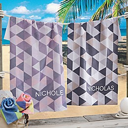His and Hers Geometric Beach Towel